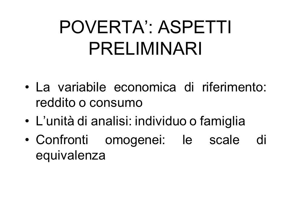 POVERTA: ASPETTI PRELIMINARI La variabile economica di riferimento: reddito o consumo Lunità di analisi: individuo o famiglia Confronti omogenei: le scale di equivalenza