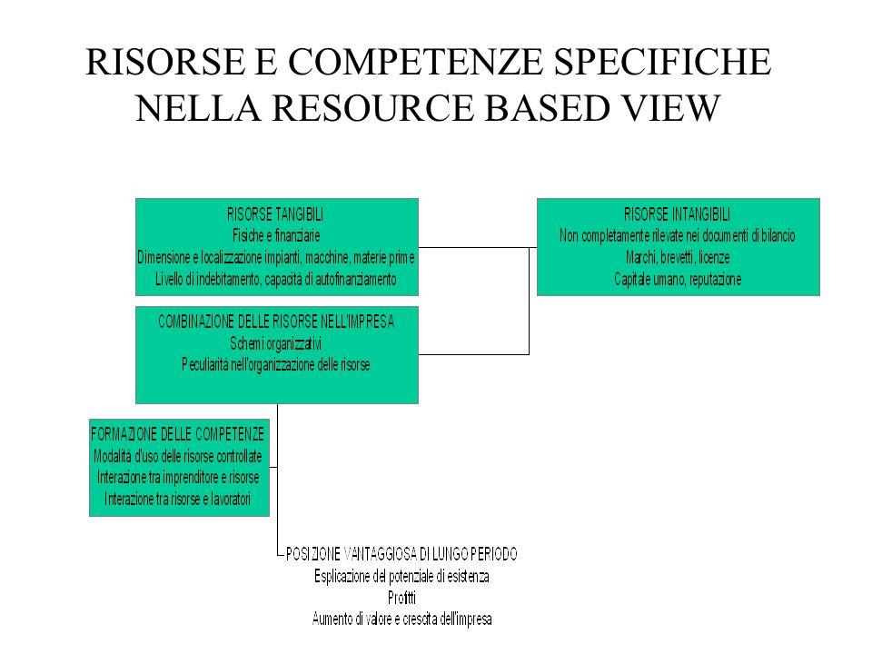 RISORSE E COMPETENZE SPECIFICHE NELLA RESOURCE BASED VIEW