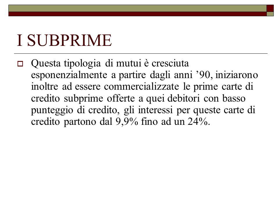 I SUBPRIME Questa tipologia di mutui è cresciuta esponenzialmente a partire dagli anni 90, iniziarono inoltre ad essere commercializzate le prime cart