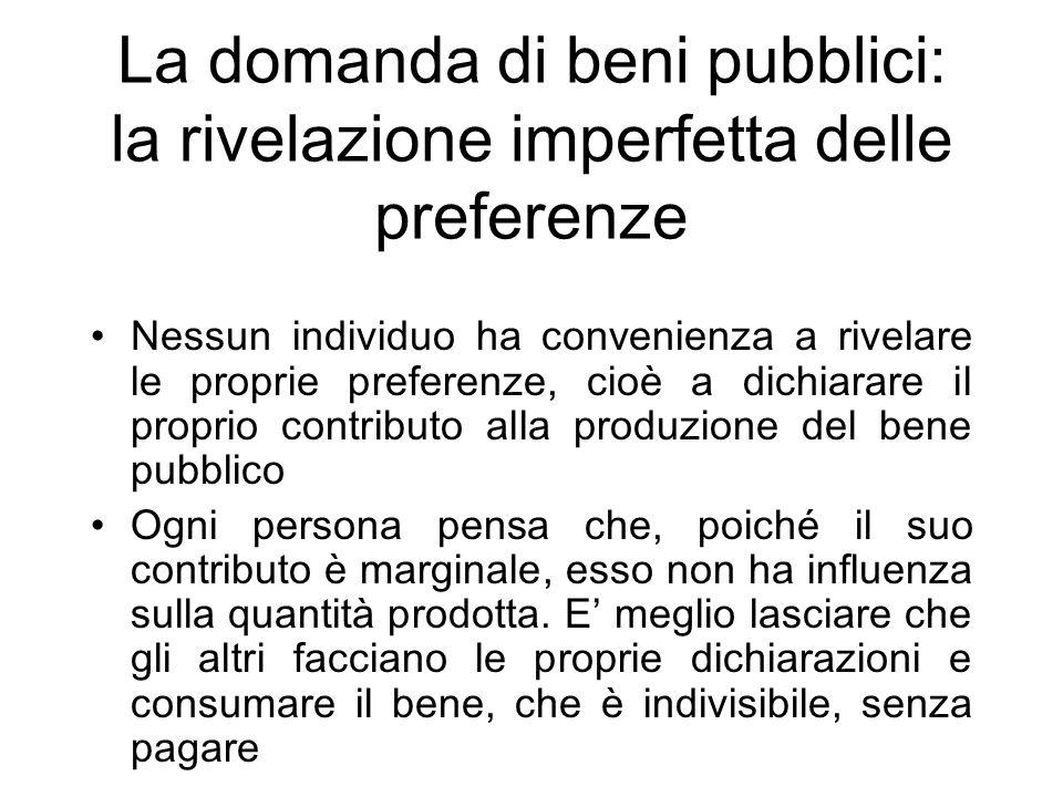 La domanda di beni pubblici: la rivelazione imperfetta delle preferenze Nessun individuo ha convenienza a rivelare le proprie preferenze, cioè a dichi
