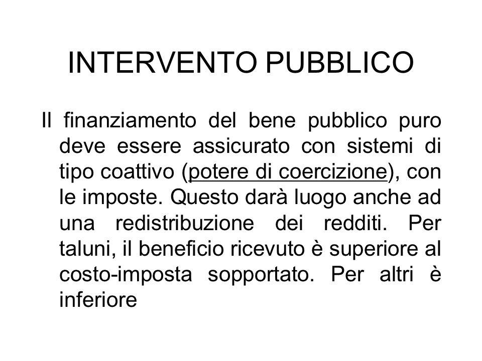 INTERVENTO PUBBLICO Il finanziamento del bene pubblico puro deve essere assicurato con sistemi di tipo coattivo (potere di coercizione), con le impost