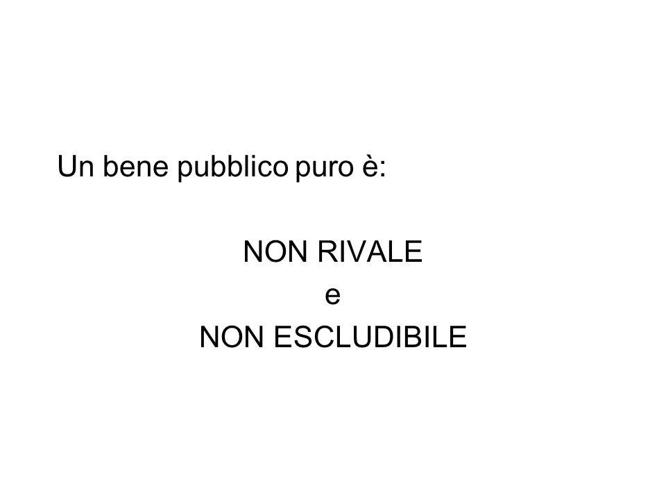 Un bene pubblico puro è: NON RIVALE e NON ESCLUDIBILE