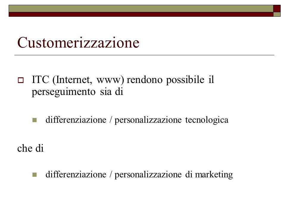 Customerizzazione ITC (Internet, www) rendono possibile il perseguimento sia di differenziazione / personalizzazione tecnologica che di differenziazione / personalizzazione di marketing