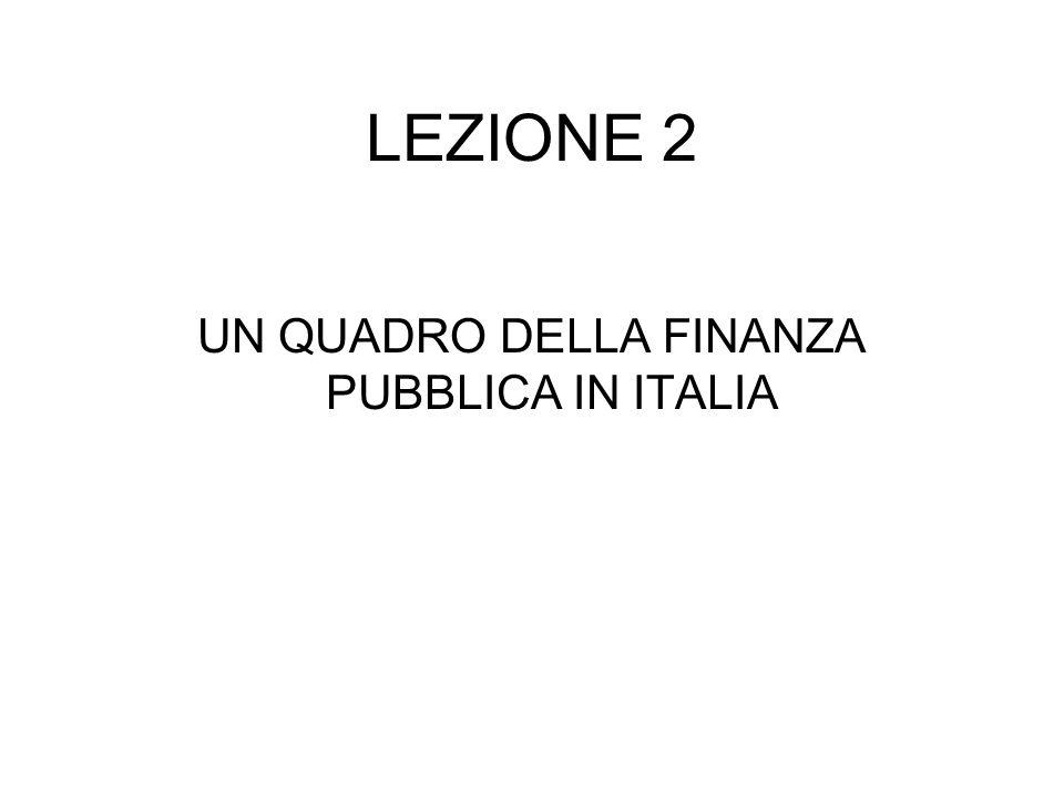 LEZIONE 2 UN QUADRO DELLA FINANZA PUBBLICA IN ITALIA