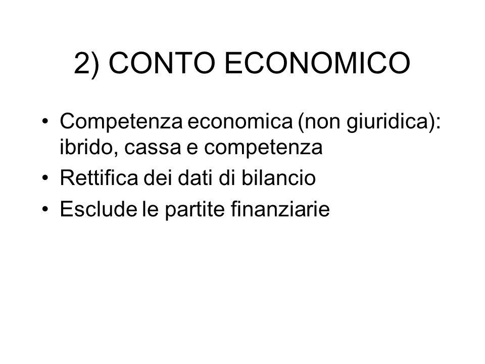 2) CONTO ECONOMICO Competenza economica (non giuridica): ibrido, cassa e competenza Rettifica dei dati di bilancio Esclude le partite finanziarie