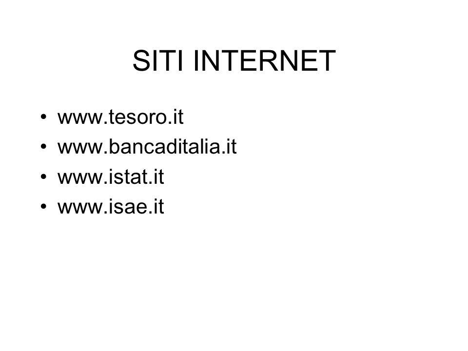 SITI INTERNET www.tesoro.it www.bancaditalia.it www.istat.it www.isae.it