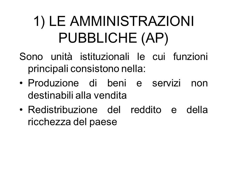 1) LE AMMINISTRAZIONI PUBBLICHE (AP) Sono unità istituzionali le cui funzioni principali consistono nella: Produzione di beni e servizi non destinabil