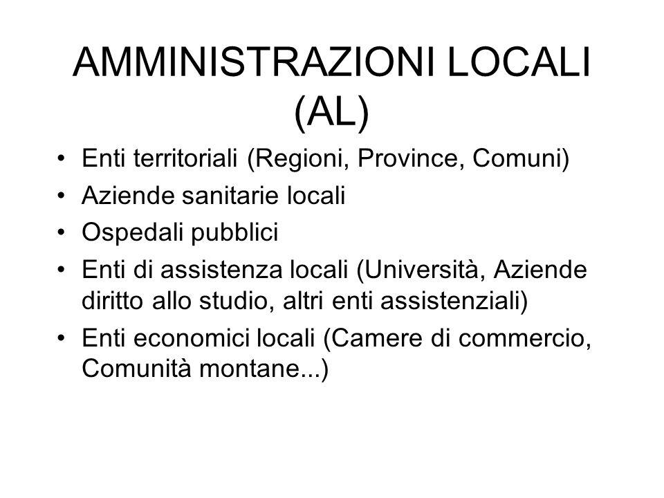 AMMINISTRAZIONI LOCALI (AL) Enti territoriali (Regioni, Province, Comuni) Aziende sanitarie locali Ospedali pubblici Enti di assistenza locali (Univer