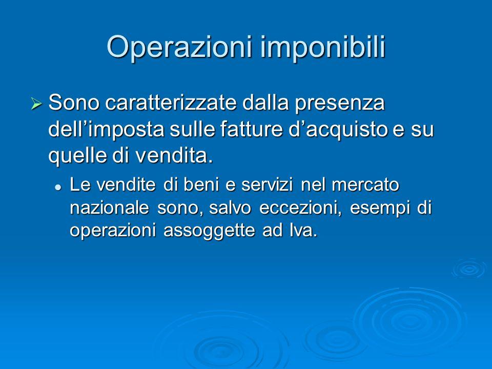 Operazioni imponibili Sono caratterizzate dalla presenza dellimposta sulle fatture dacquisto e su quelle di vendita. Sono caratterizzate dalla presenz