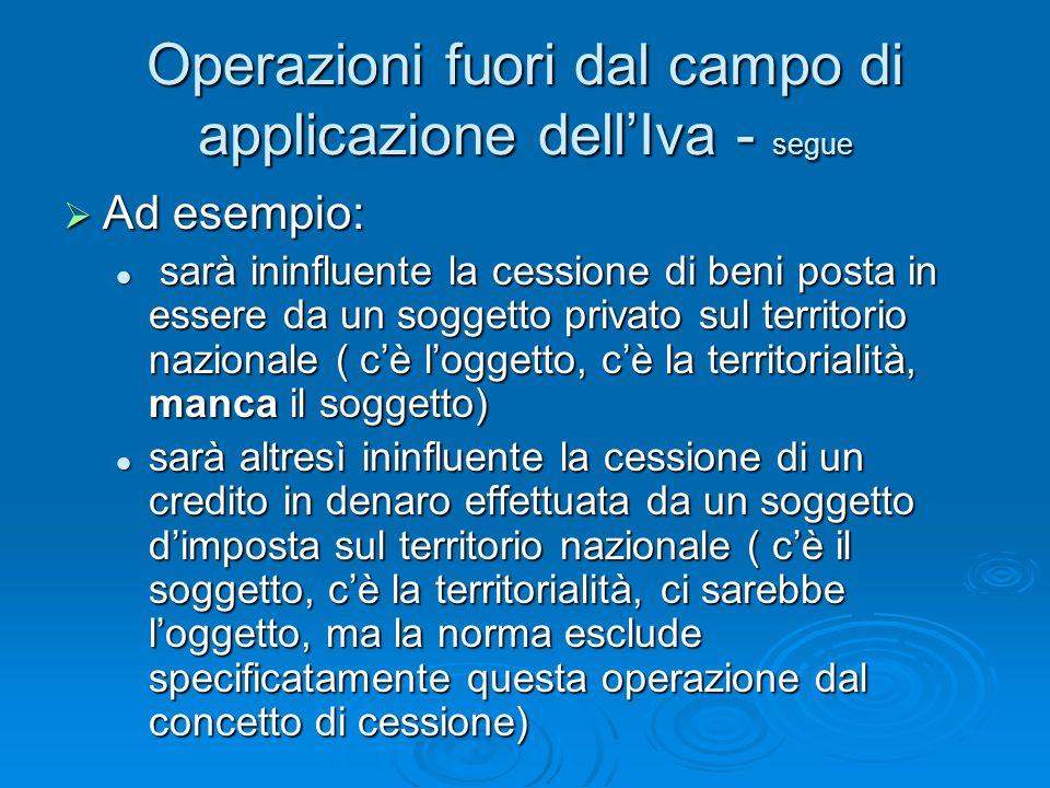 Operazioni fuori dal campo di applicazione dellIva - segue Ad esempio: Ad esempio: sarà ininfluente la cessione di beni posta in essere da un soggetto
