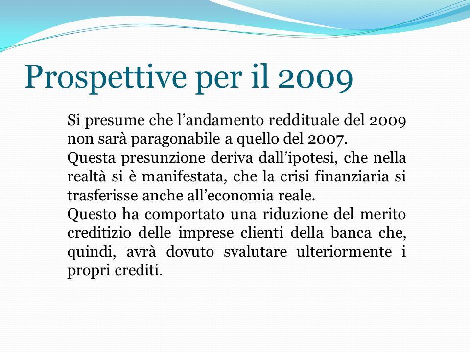 Prospettive per il 2009 Si presume che landamento reddituale del 2009 non sarà paragonabile a quello del 2007.