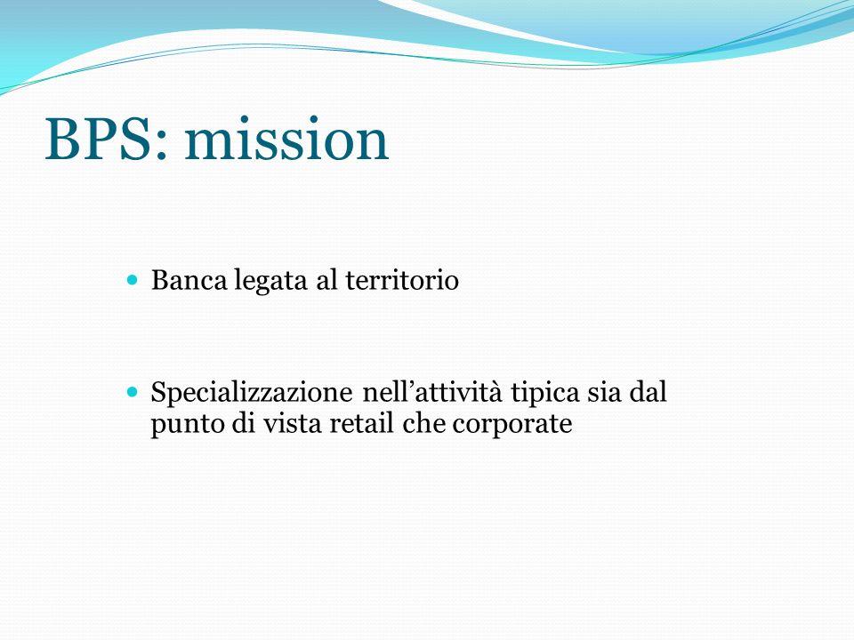 BPS: mission Banca legata al territorio Specializzazione nellattività tipica sia dal punto di vista retail che corporate