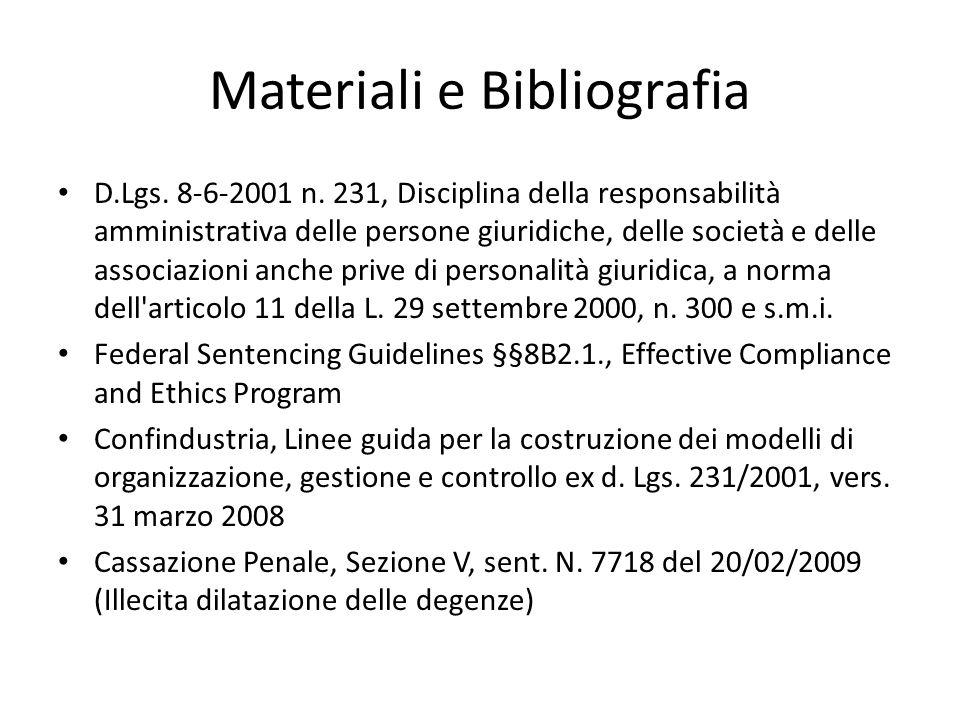 Materiali e Bibliografia D.Lgs. 8-6-2001 n.