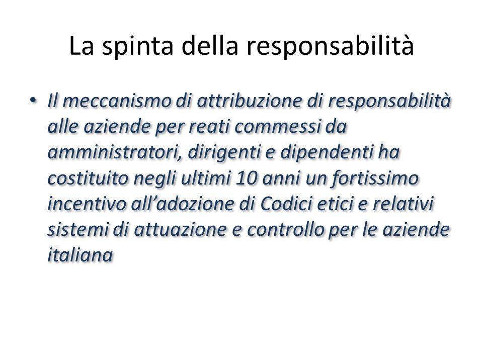 La spinta della responsabilità Il meccanismo di attribuzione di responsabilità alle aziende per reati commessi da amministratori, dirigenti e dipendenti ha costituito negli ultimi 10 anni un fortissimo incentivo alladozione di Codici etici e relativi sistemi di attuazione e controllo per le aziende italiana