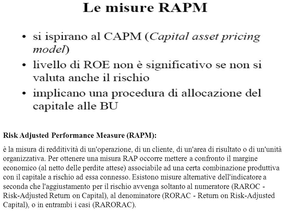 Risk Adjusted Performance Measure (RAPM): è la misura di redditività di un'operazione, di un cliente, di un'area di risultato o di un'unità organizzat
