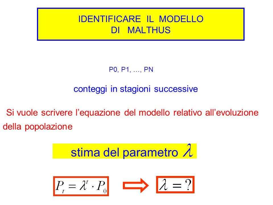 IDENTIFICARE IL MODELLO DI MALTHUS P0, P1, …, PN conteggi in stagioni successive Si vuole scrivere lequazione del modello relativo allevoluzione della