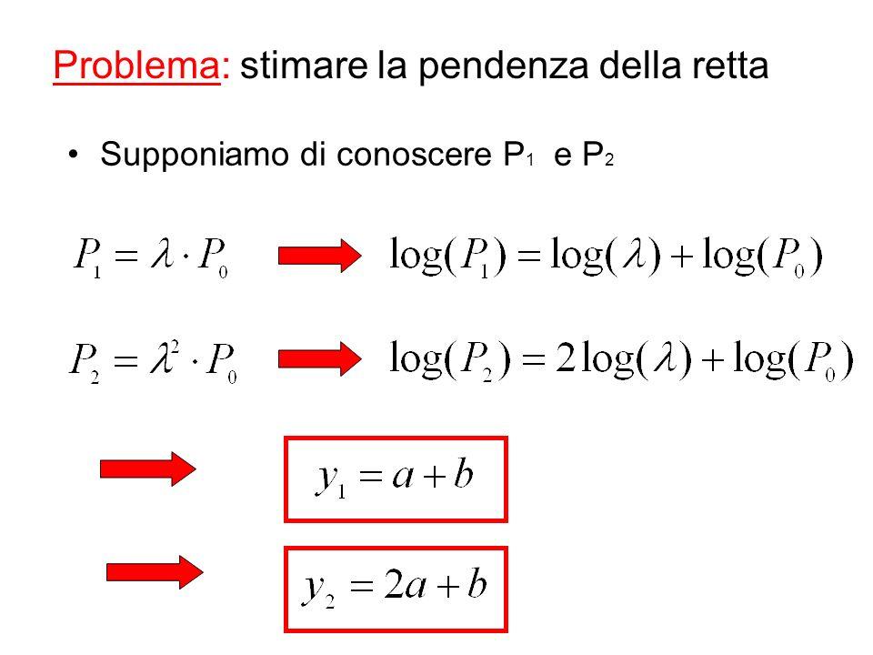 Problema: stimare la pendenza della retta Supponiamo di conoscere P 1 e P 2
