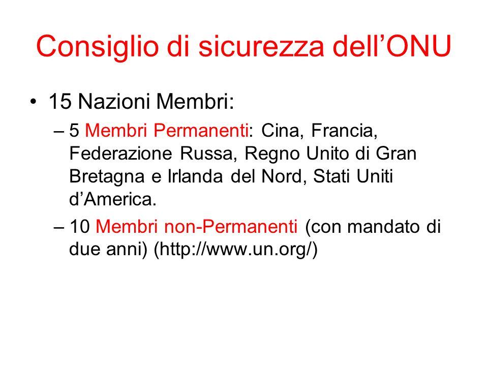 Consiglio di sicurezza dellONU 15 Nazioni Membri: –5 Membri Permanenti: Cina, Francia, Federazione Russa, Regno Unito di Gran Bretagna e Irlanda del Nord, Stati Uniti dAmerica.