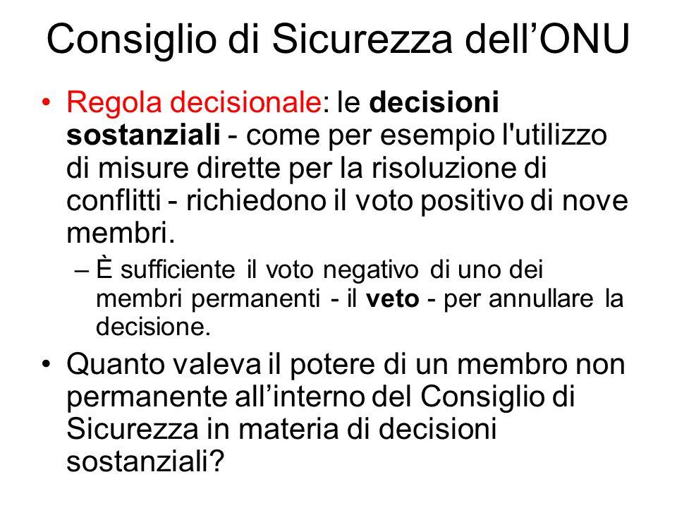 Consiglio di Sicurezza dellONU Regola decisionale: le decisioni sostanziali - come per esempio l utilizzo di misure dirette per la risoluzione di conflitti - richiedono il voto positivo di nove membri.