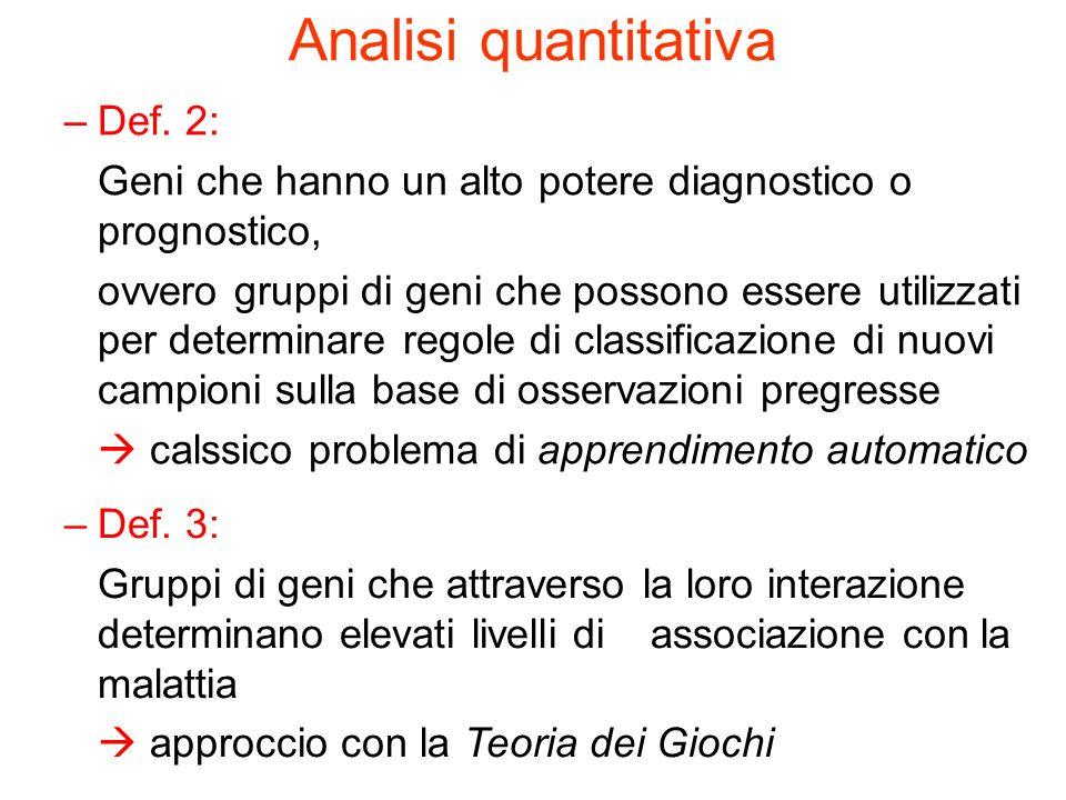 Analisi quantitativa –Def.