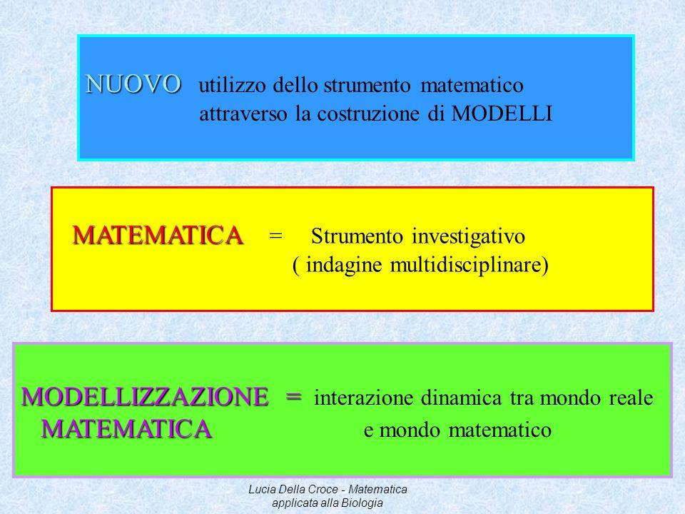 Processo interdisciplinare con cui si intende interpretare, simulare, predire i fenomeni reali MODELLIZZAZIONE MATEMATICA MODELLO oggetto utilizzato per rappresentare qualcosa daltro rappresenta un cambiamento sulla scala di astrazione Lucia Della Croce - Matematica applicata alla Biologia