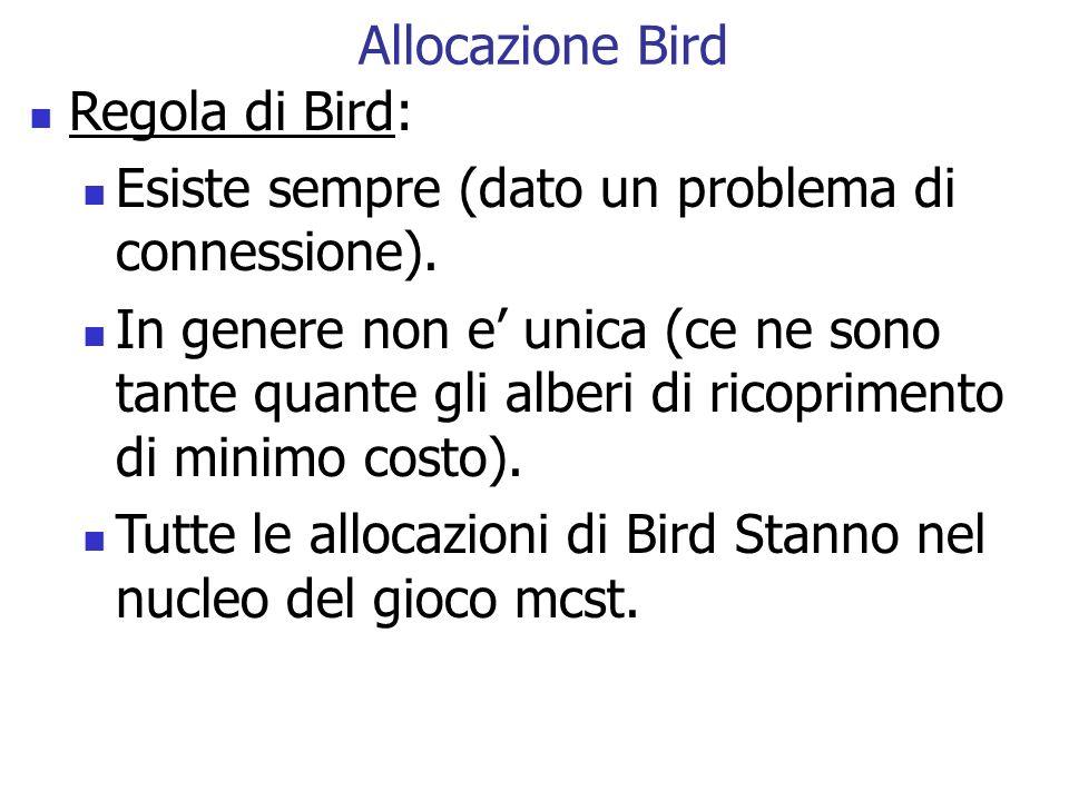 Allocazione Bird Regola di Bird: Esiste sempre (dato un problema di connessione).