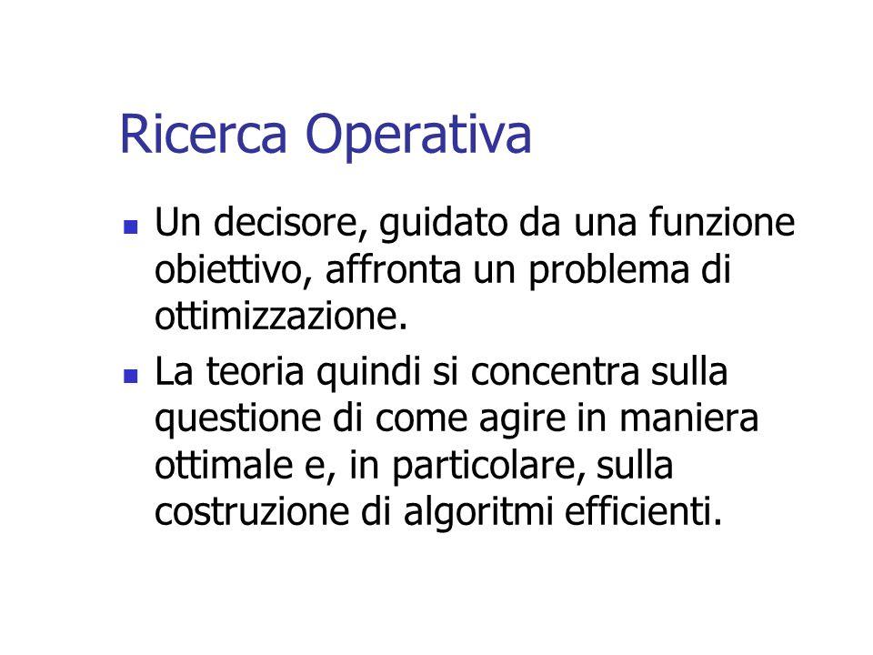 Ricerca Operativa Un decisore, guidato da una funzione obiettivo, affronta un problema di ottimizzazione.