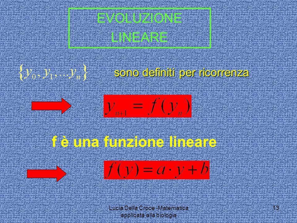 sono definiti per ricorrenza f è una funzione lineare EVOLUZIONE LINEARE 13Lucia Della Croce -Matematica applicata alla biologia