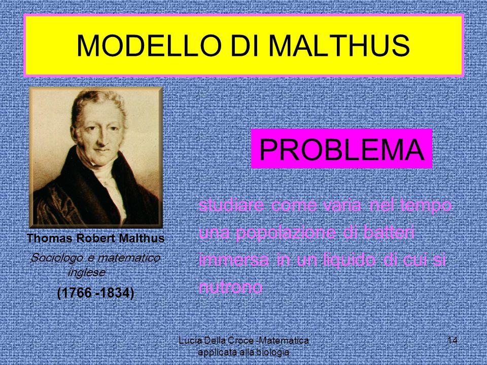 MODELLO DI MALTHUS PROBLEMA studiare come varia nel tempo una popolazione di batteri immersa in un liquido di cui si nutrono (1766 -1834) Sociologo e