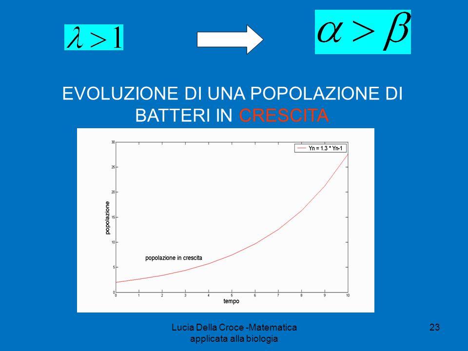 EVOLUZIONE DI UNA POPOLAZIONE DI BATTERI IN CRESCITA 23Lucia Della Croce -Matematica applicata alla biologia