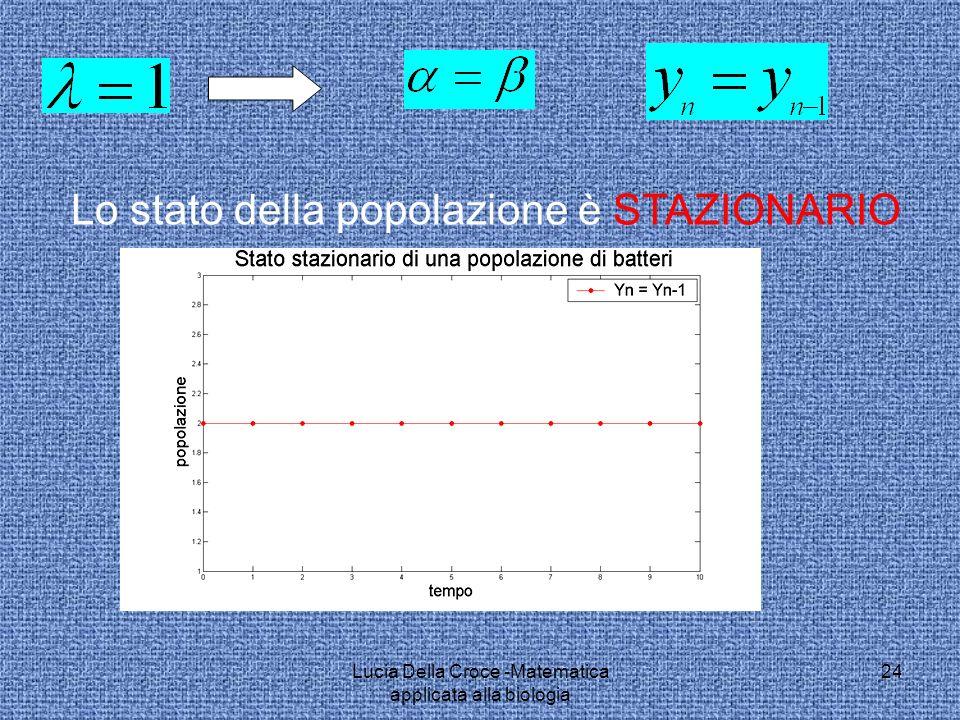 Lo stato della popolazione è STAZIONARIO 24Lucia Della Croce -Matematica applicata alla biologia