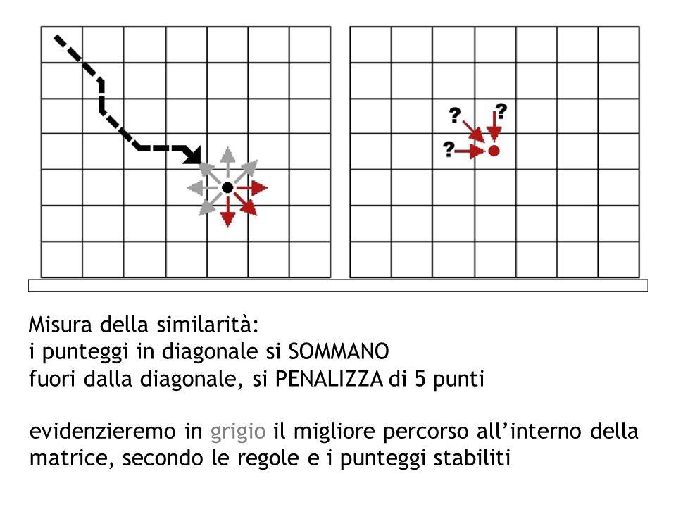 Misura della similarità: i punteggi in diagonale si SOMMANO fuori dalla diagonale, si PENALIZZA di 5 punti evidenzieremo in grigio il migliore percors