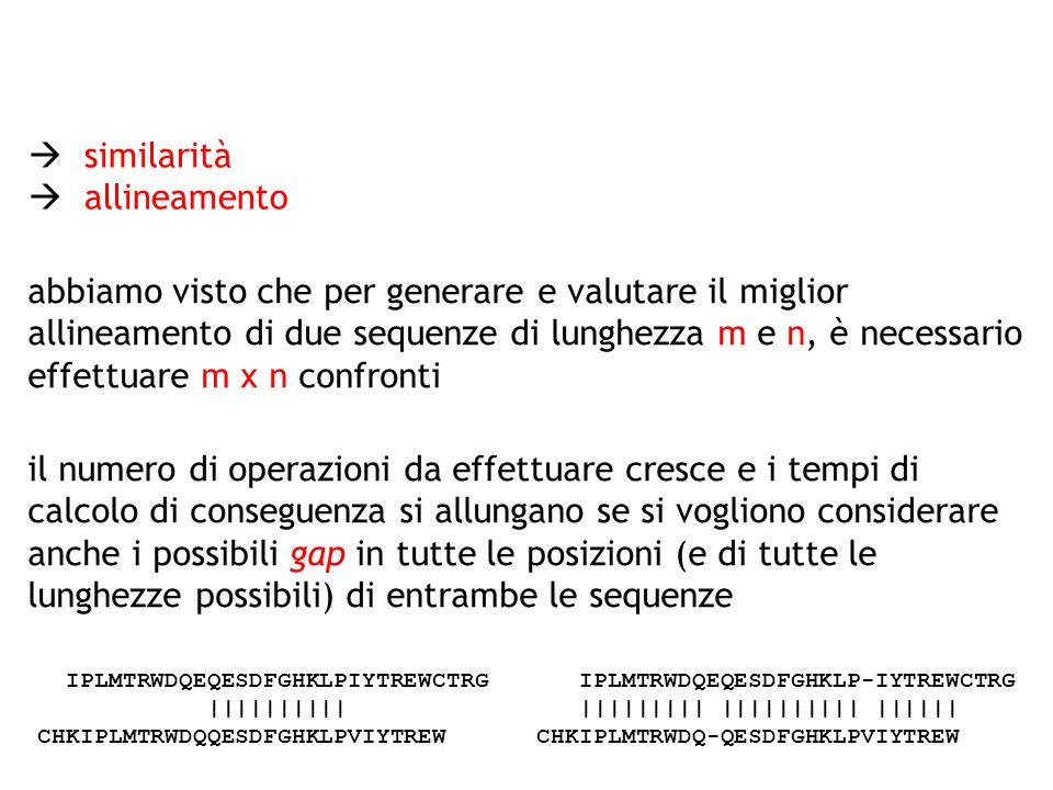 similarità allineamento abbiamo visto che per generare e valutare il miglior allineamento di due sequenze di lunghezza m e n, è necessario effettuare