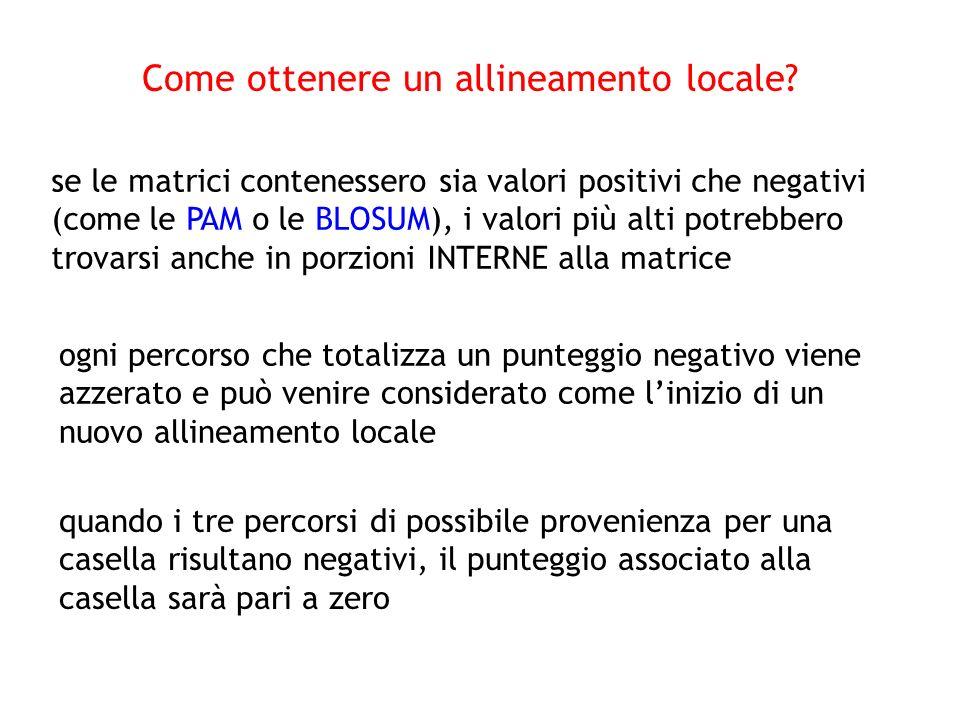 se le matrici contenessero sia valori positivi che negativi (come le PAM o le BLOSUM), i valori più alti potrebbero trovarsi anche in porzioni INTERNE