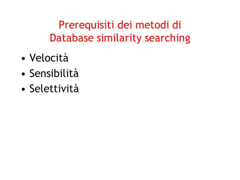 Prerequisiti dei metodi di Database similarity searching Velocità Sensibilità Selettività