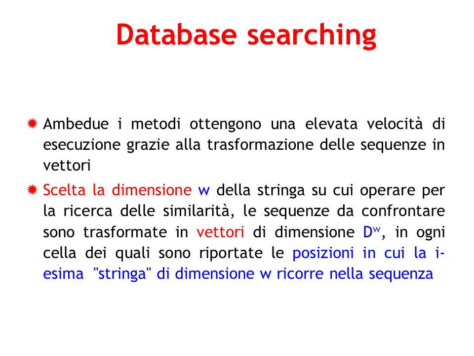 Database searching Ambedue i metodi ottengono una elevata velocità di esecuzione grazie alla trasformazione delle sequenze in vettori Scelta la dimens