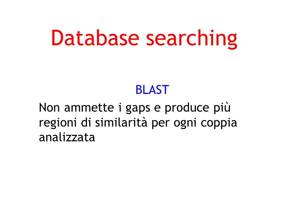 Database searching BLAST Non ammette i gaps e produce più regioni di similarità per ogni coppia analizzata