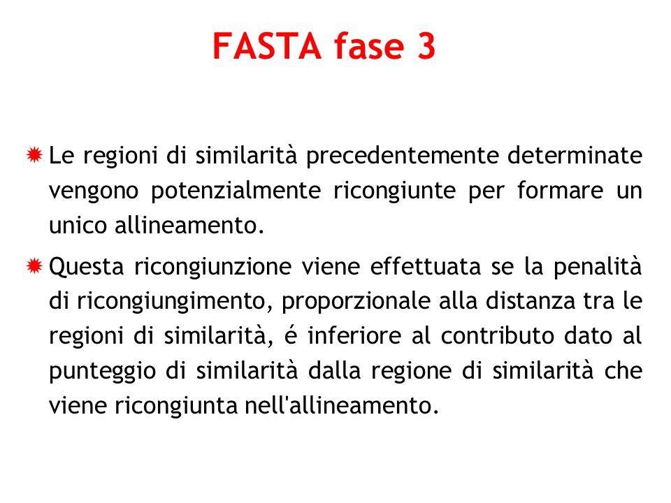 FASTA fase 3 Le regioni di similarità precedentemente determinate vengono potenzialmente ricongiunte per formare un unico allineamento. Questa ricongi