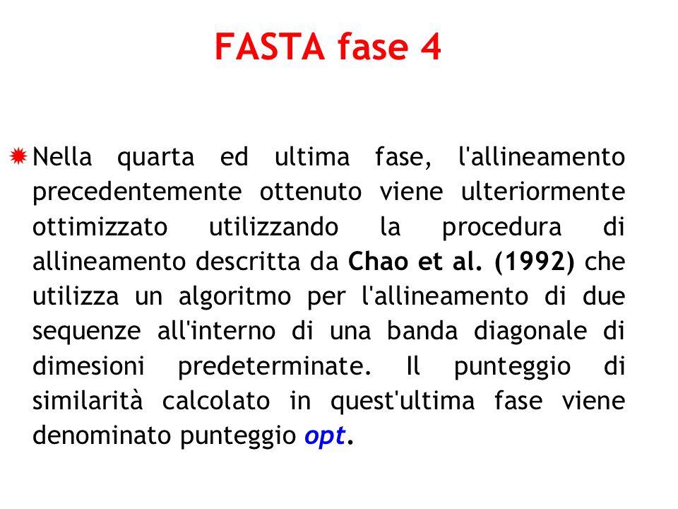 FASTA fase 4 Nella quarta ed ultima fase, l'allineamento precedentemente ottenuto viene ulteriormente ottimizzato utilizzando la procedura di allineam