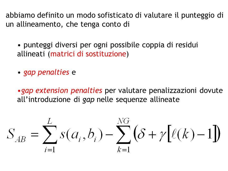 punteggi diversi per ogni possibile coppia di residui allineati (matrici di sostituzione) gap penalties e gap extension penalties per valutare penaliz