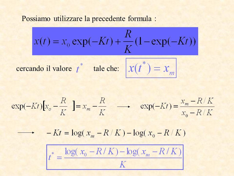 Possiamo utilizzare la precedente formula : cercando il valore tale che:
