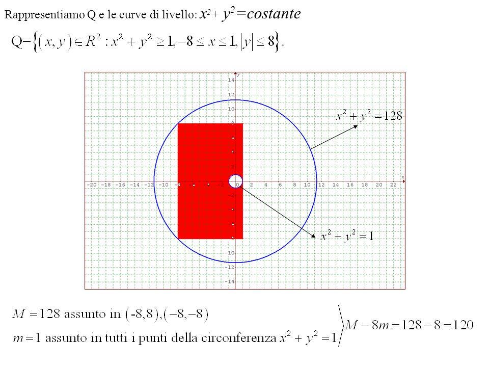 Rappresentiamo Q e le curve di livello: x 2 + y 2 =costante