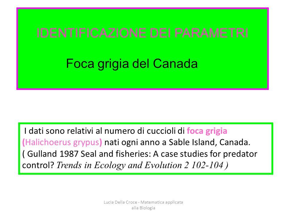 IDENTIFICAZIONE DEI PARAMETRI Foca grigia del Canada I dati sono relativi al numero di cuccioli di foca grigia (Halichoerus grypus) nati ogni anno a Sable Island, Canada.