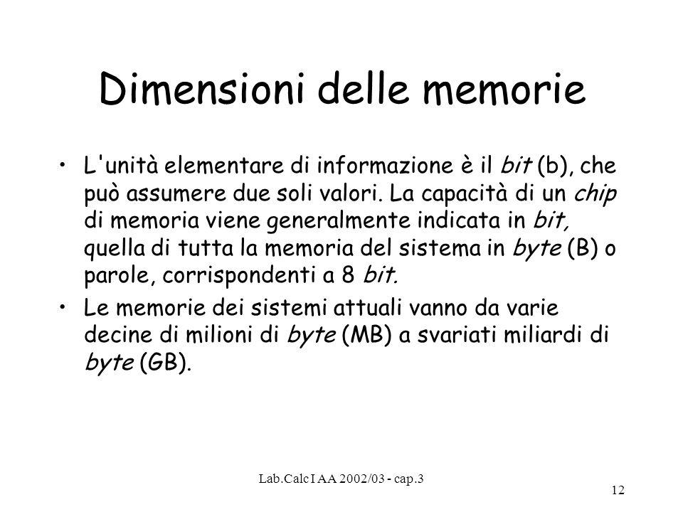 Lab.Calc I AA 2002/03 - cap.3 12 Dimensioni delle memorie L'unità elementare di informazione è il bit (b), che può assumere due soli valori. La capaci