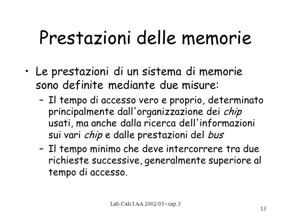 Lab.Calc I AA 2002/03 - cap.3 13 Prestazioni delle memorie Le prestazioni di un sistema di memorie sono definite mediante due misure: –Il tempo di acc