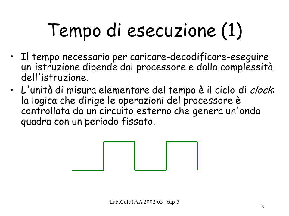 Lab.Calc I AA 2002/03 - cap.3 9 Tempo di esecuzione (1) Il tempo necessario per caricare-decodificare-eseguire un'istruzione dipende dal processore e
