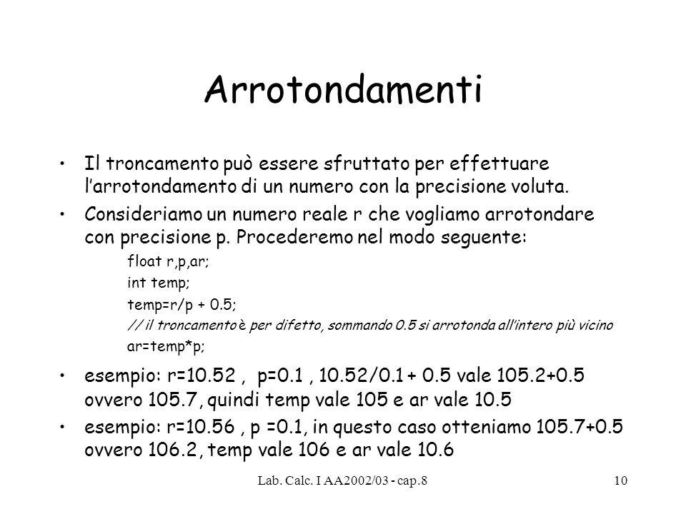 Lab. Calc. I AA2002/03 - cap.89 Uso di / e di % // esempio di conversione da secondi a ore, minuti, secondi int secondi= 3726; // tempo totale in seco