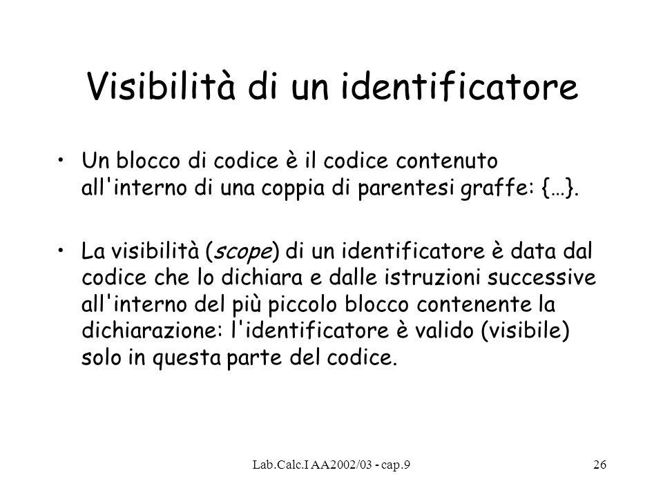Lab.Calc.I AA2002/03 - cap.926 Visibilità di un identificatore Un blocco di codice è il codice contenuto all interno di una coppia di parentesi graffe: {…}.
