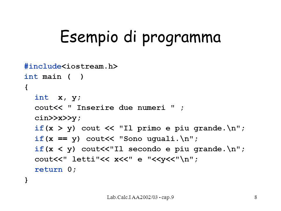 Lab.Calc.I AA2002/03 - cap.98 Esempio di programma #include int main ( ) { int x, y; cout<< Inserire due numeri ; cin>>x>>y; if(x > y) cout << Il primo e piu grande.\n ; if(x == y) cout<< Sono uguali.\n ; if(x < y) cout<< Il secondo e piu grande.\n ; cout<< letti << x<< e <<y<< \n ; return 0; }
