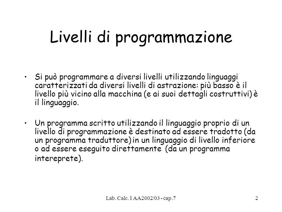 Lab. Calc. I AA2002/03 - cap.73 Codice C++